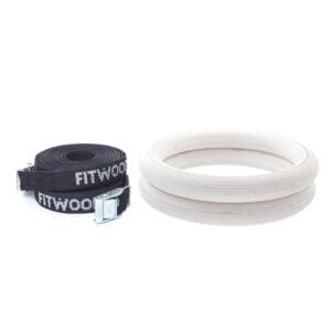 FitWood Olympic Gymnastikringe 28mm - Glazing-overflade / SortStrop