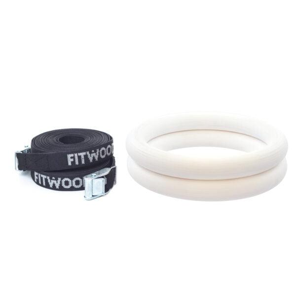 FitWood Olympic Gymnastikringe 28mm- Hvid-overflade / SortStrop