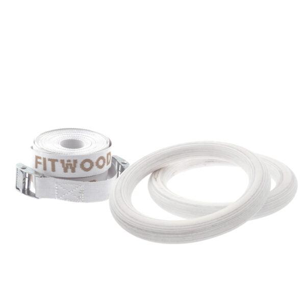 FitWood Play Gymnastikringe 25mm - Glazing overflade / Hvid Strop