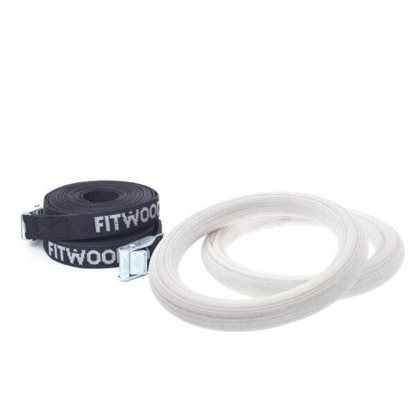 FitWood Play Gymnastikringe 25mm - Glazing overflade / Sort Strop
