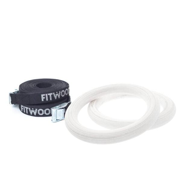 FitWood Play Gymnastikringe 25mm - Hvid overflade / Sort Strop