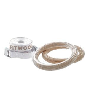 FitWood Play Gymnastikringe 25mm - Træ overflade / Hvid Strop