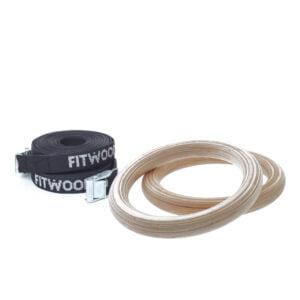 FitWood Play Gymnastikringe 25mm - Træ overflade / Sort Strop